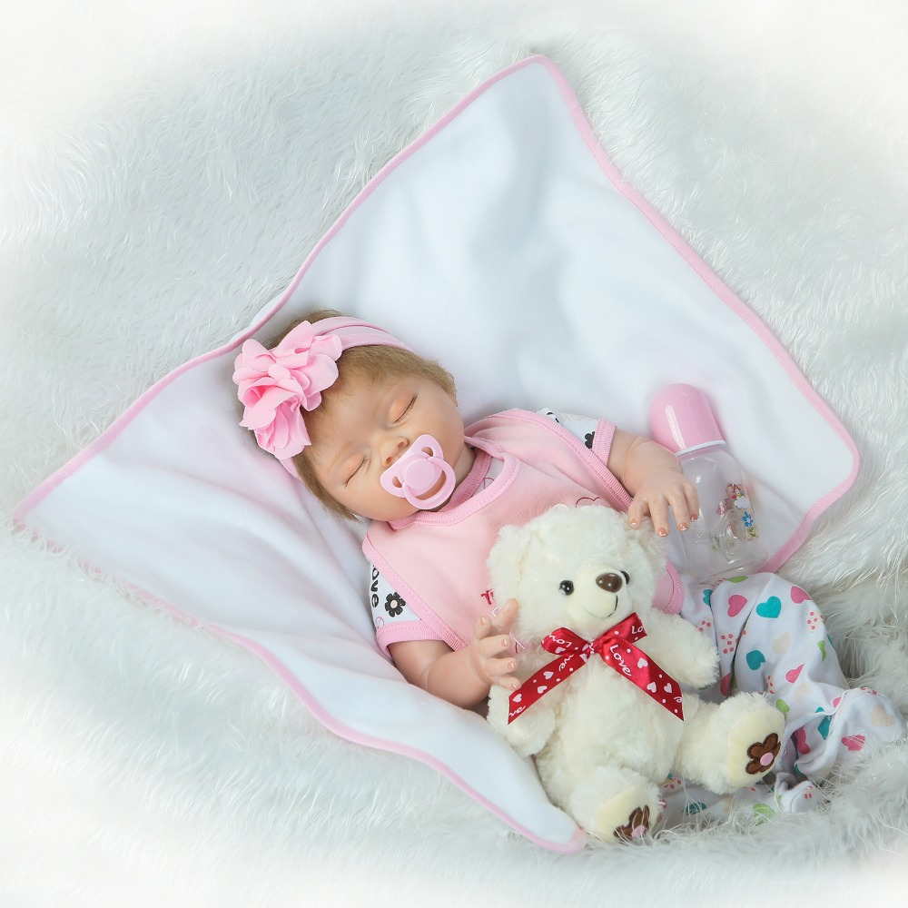 22 Reborn dolls toys half soft silicone body  reborn baby cotton body with pacifier bear doll newborn baby bonecas  child gift 22 Reborn dolls toys half soft silicone body  reborn baby cotton body with pacifier bear doll newborn baby bonecas  child gift