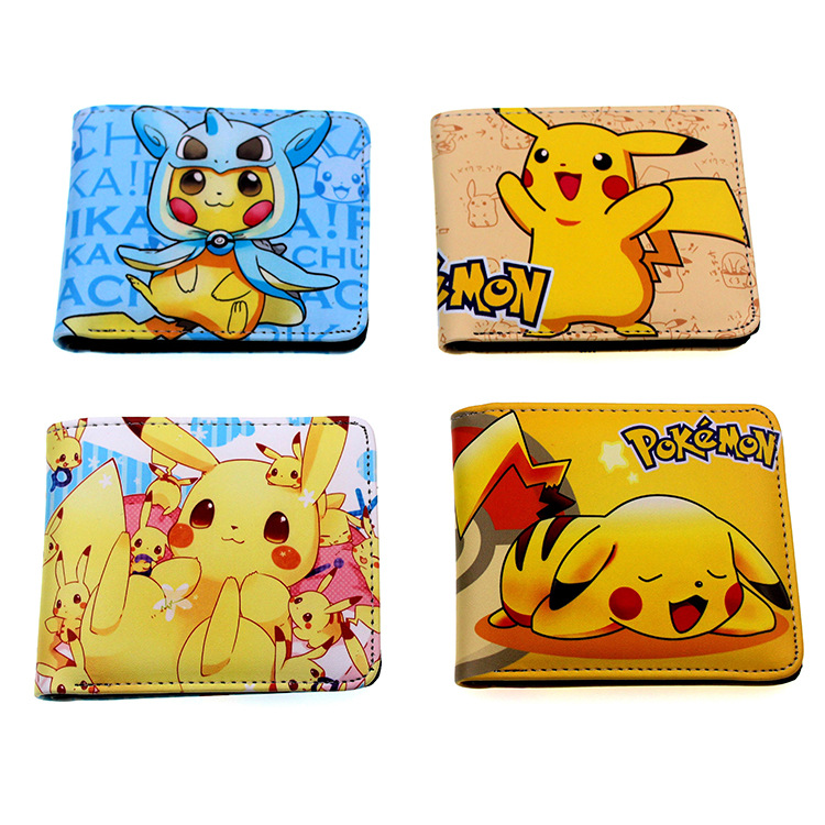 Cute Pokemon Pet Elf Pikachu Wallet Short Folding Wallets Lovely Cartoon Change Storage Bag Flash Purse For Kids Men Carteras