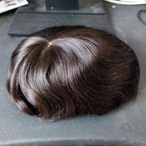 Image 5 - Hstonir טהור בעבודת יד Mens פאה משי בסיס עם שוויצרי תחרה עור דק גברים רמי שיער מערכות H032