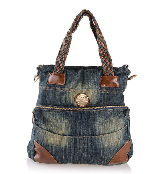 ФОТО Casual big denim bag designer brand tote bags for travel women handbag female purse high quality jeans bag borse da donna