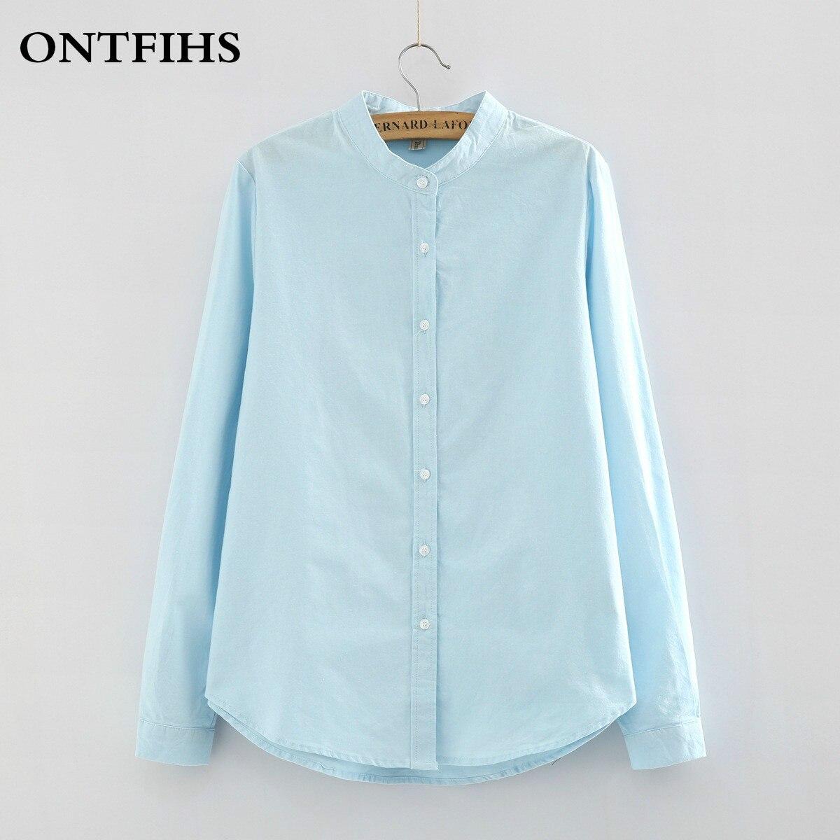 Новая Мода Хлопок Рубашки Мандарин Воротник Белый Синий Рубашка Чистого цвета Женщины С Длинным Рукавом Блузка дамы офис блузка