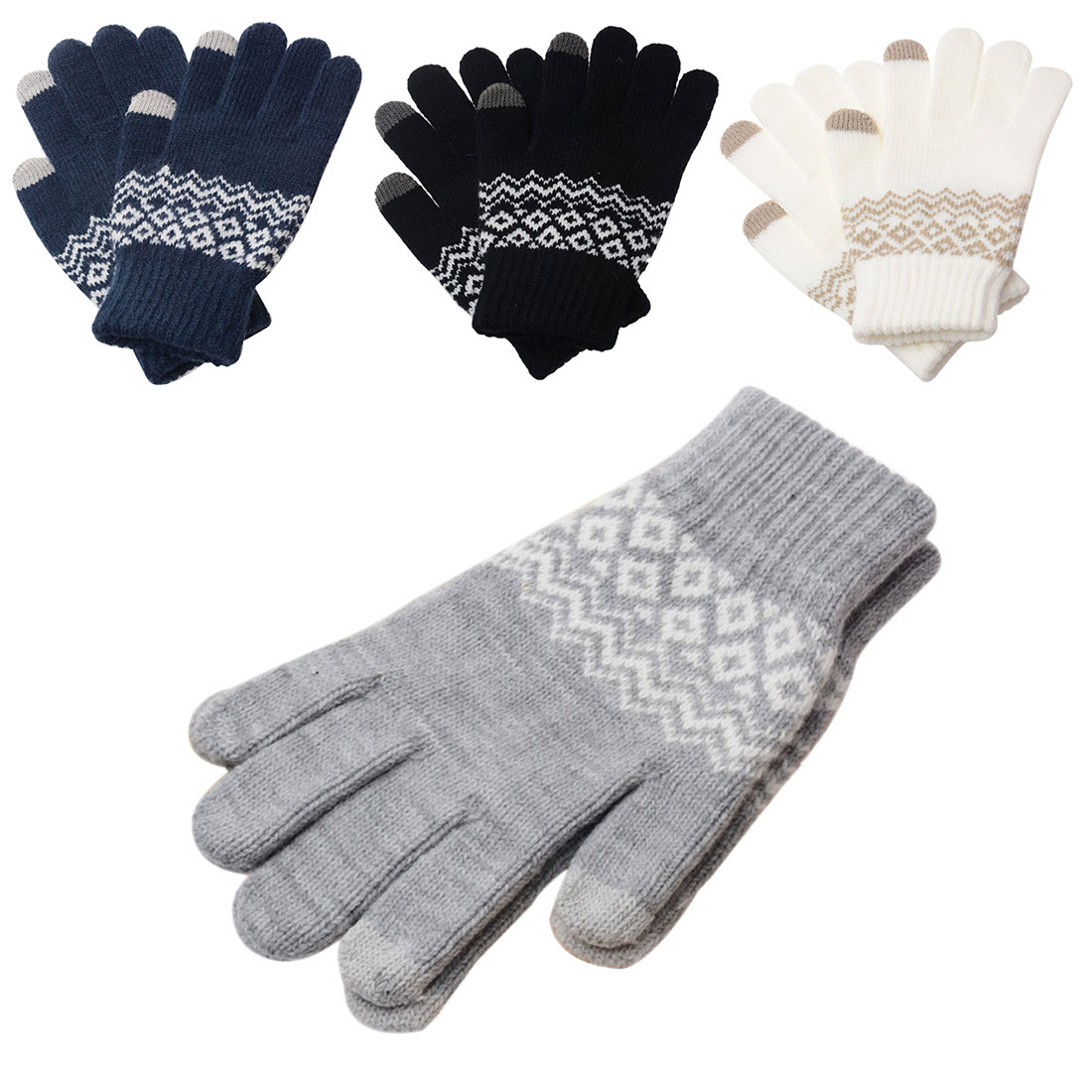 New Stretch Snow Knitted Gloves For Women Men Square Mittens Use Smartphone Screen Gloves Wool-Knit Warmer Chirstmas Gift