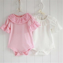 2016 Lace Collar Baby Girls Short Sleeve Solid Bodysuit One-pieces Outfits 1 2 3 4 7 Y Year Old