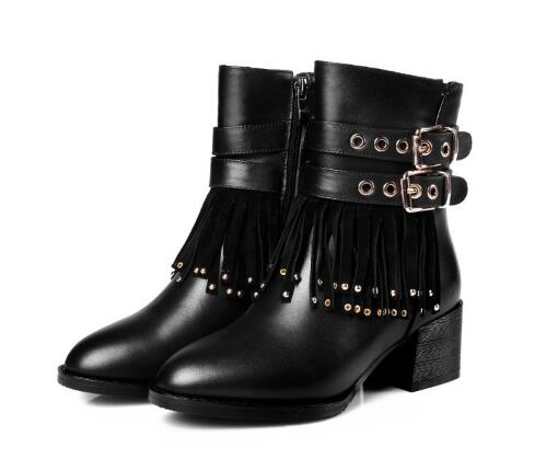 New short boot for women Spring and autumn black round toe medium heel ankle boots Fashion fringe zipper short boots Dress shoes 2017 new genuine leather elastic band chunky women ankle boot casual round toe anti skid spring autumn flat short boots zy170919