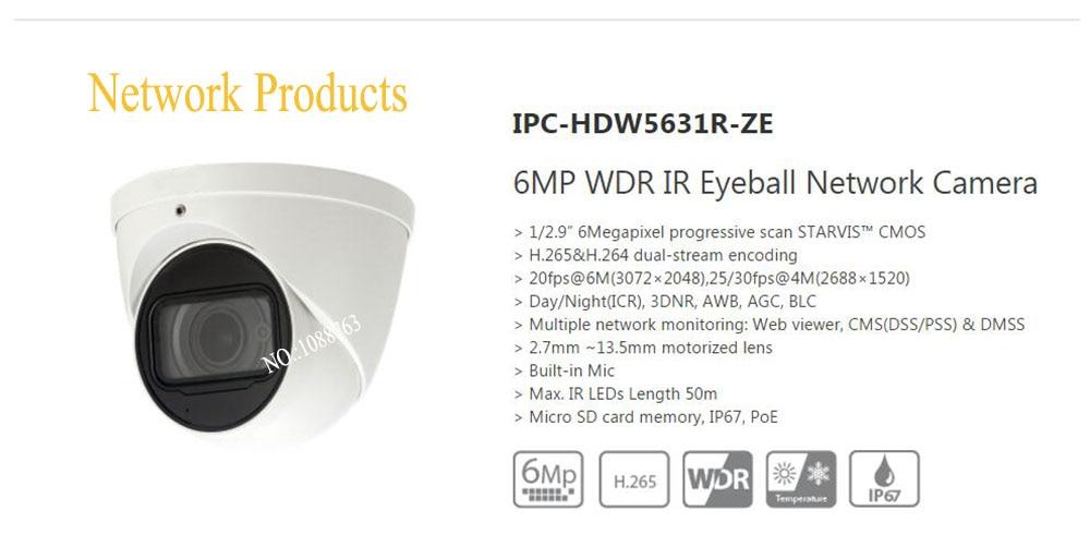 Free Shipping DAHUA IP Camera CCTV 6MP WDR IR Eyeball Network Camera with POE IP67 Without Logo IPC-HDW5631R-ZE dahua 2 7mm 12mm motorized lens 2mp wdr ir eyeball network camera ipc hdw5231r z free dhl shipping
