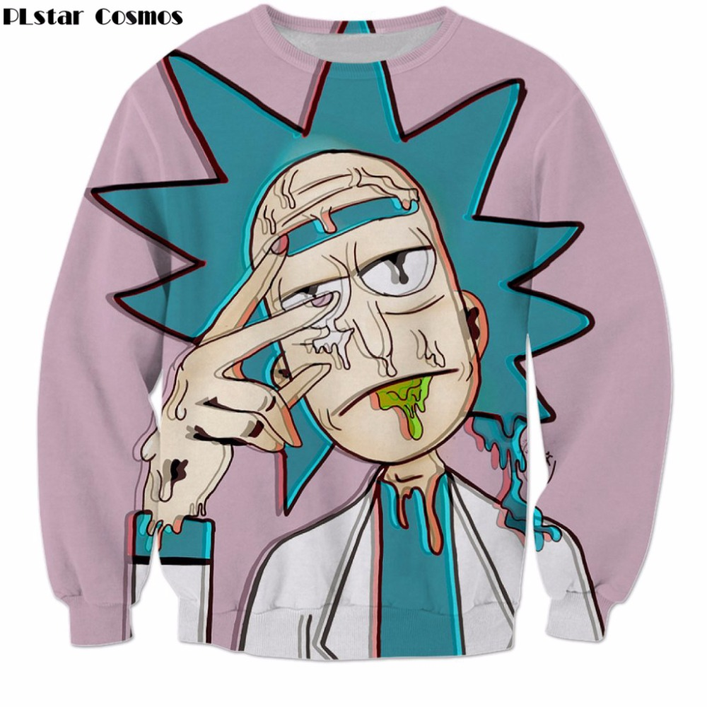 PLstar Cosmos rick and morty Cartoon Sweatshirt Harajuku style Hoodies Mad scientist rick 3d print Men Women casual Pullovers
