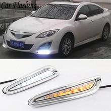 Автомобильный мигающий 2 шт. для Mazda 3, Мазда 3, 2010, 2011, 2012, 2013 светодиодный DRL Дневной ходовой светильник, Дневной светильник, желтый указатель поворота, противотуманная фара