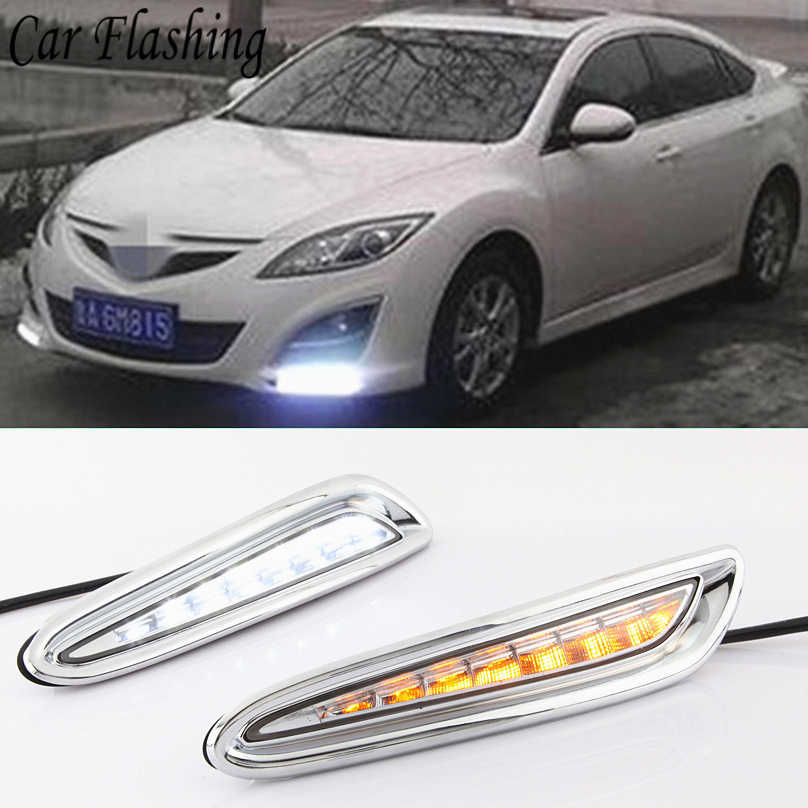 Auto Knipperende 2 Pcs Voor Mazda 3 Mazda3 2010 2011 2012 2013 Led Drl Dagrijverlichting Daylight Geel Turn signaal Mistlamp