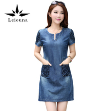 Leiouna High Quality Summer 2017 Denim Loose Fashion Casual Mini Jeans Dresses For Women Plus Size Clothing Short New Year