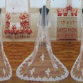 TS3 Ivory One-Layer Tulle Lace Applique 3 Meters Long Beautiful Bridal Veil with Comb