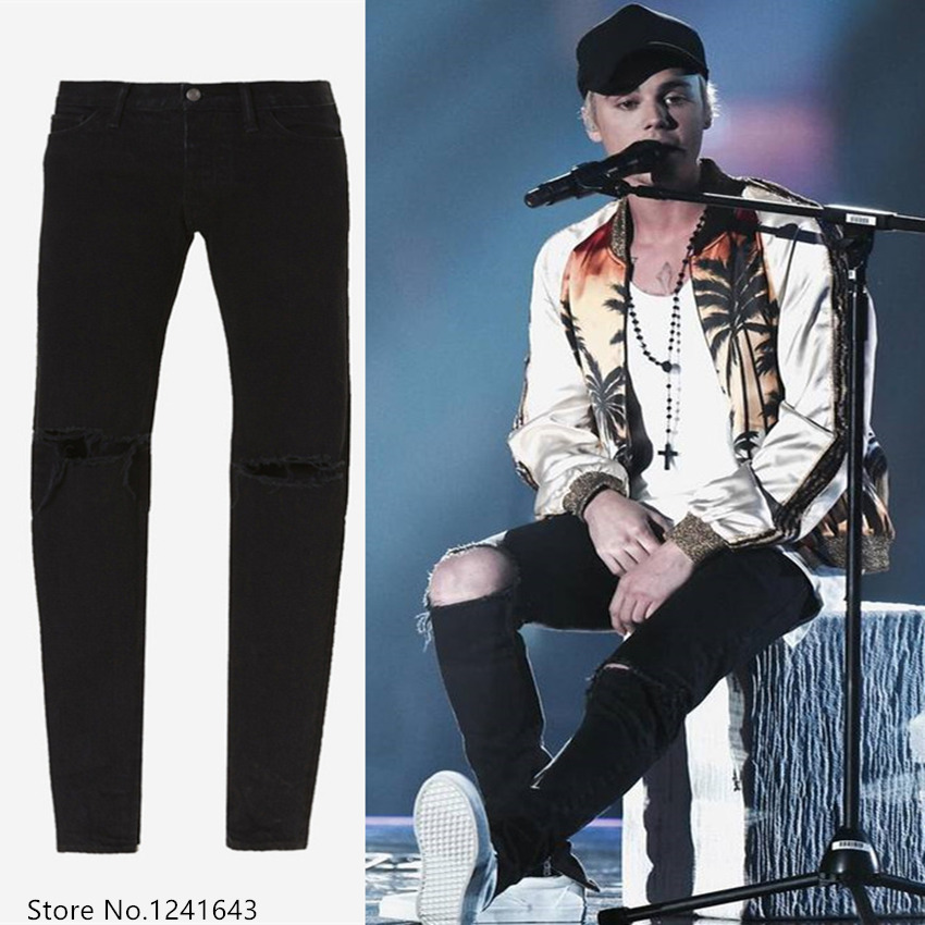 ФОТО Famous brand bieber jeans destroyed ripped jeans mens hip hop ankle zipper denim pants bieber jeans
