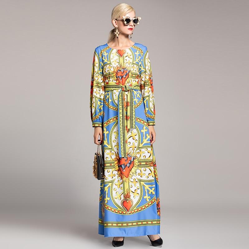 Mode Taille As Automne Nouveau Robes Lâche Robe Impression 2019 Cheville De longueur Coloré Fleurs Bohème Européenne Plus Ceinture La Femmes Photo Longue wPYRdq