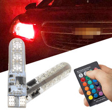 2x T10 SilicaGel RGB w5w LED Remote Controller RGBW 501 194 168 6SMD 5050 Festoon Dome Light Car Wedge Side Led DC 12V Car Bulbs(China)