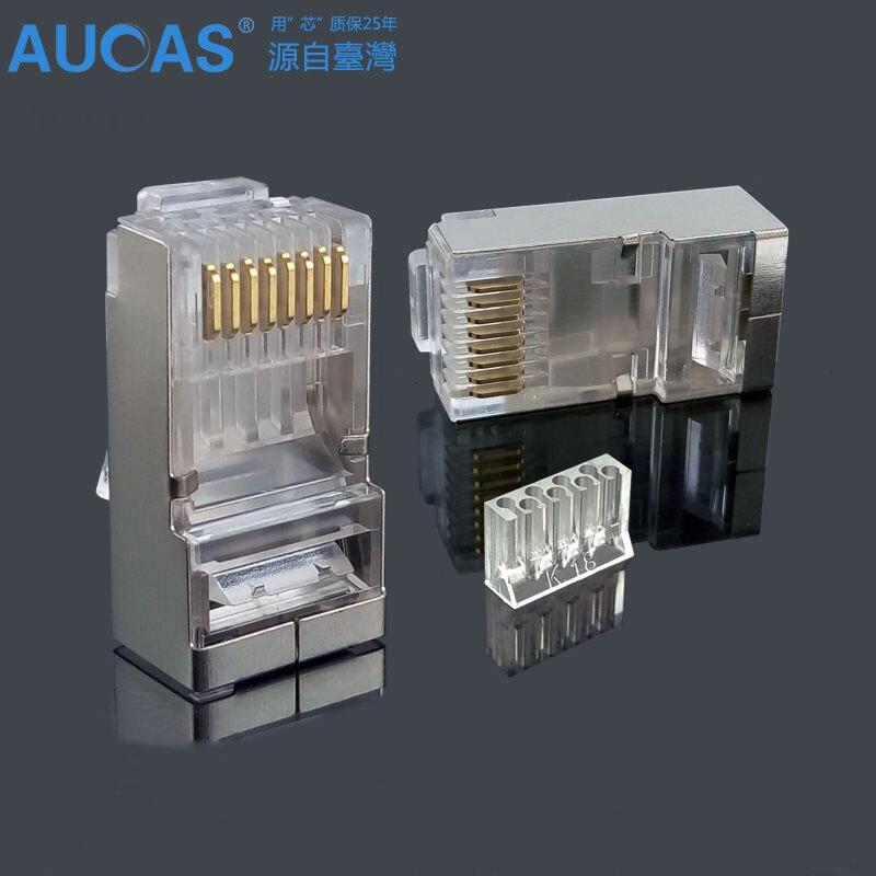 AUCAS high quality 20pcs 50pcs 100pcs rj45 connector plug cat6 shielded 8p8c rj45 cat6 network modular Free Shipping nastako 50 100pcs ez rj45 cat6 connector cat5e cat6 network connectors 8pin shielded modular plug rj45 jack terminals have hole