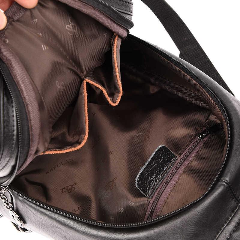 Маленькие кожаные рюкзаки для девочек 2019 Для женщин Винтаж рюкзак Дизайнер Высокое качество Sac Dos женский сплошной Женский рюкзак Новый