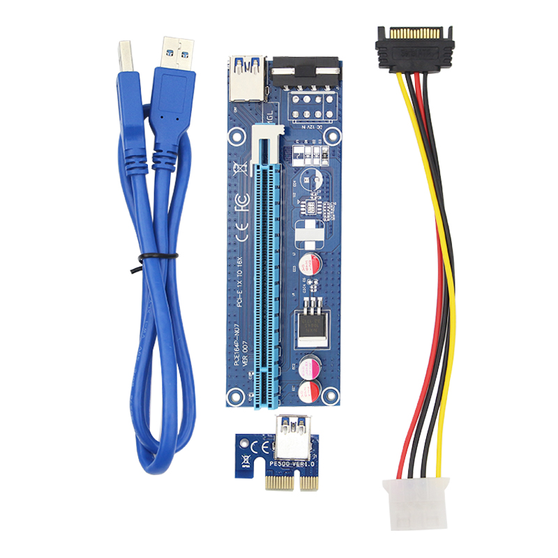 все цены на 0.6m PCI Express Cable PCI-E 1X to 16X Riser Card Extender SATA 15 Pin to 4 Pin IDE Power for Bitcoin Miner онлайн