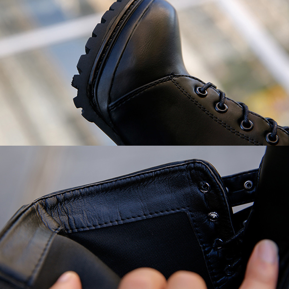 YOUYEDIAN Women Boots 2018 Ankle Boots For Women Lace Up Square Heel Winter Shoes Casual Super High Heel Boots Botas Mujer 18