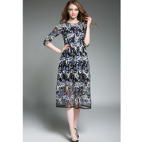 Elegant Runway Embroidery Vogue Gauze Dress 2017 Summer New High Quality Mesh Midi Length Floral Pattern Blue Dresses for Women