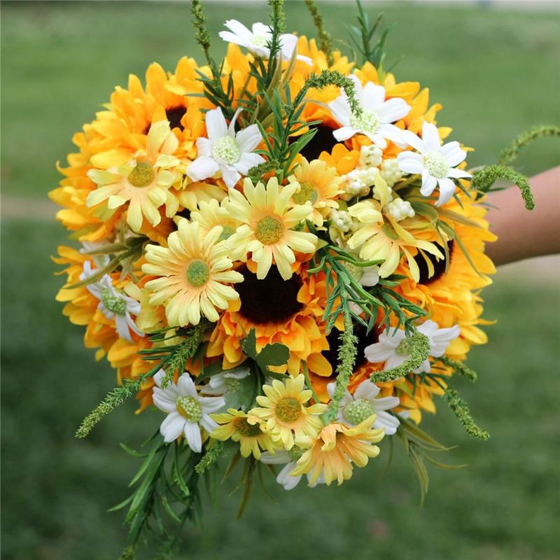 2018 New Sunflower Wedding Bouquet Bridal Flowers Artificial Wedding Bouquets for Brides Wedding Flowers Bouquet buque de noiva