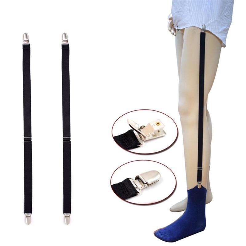 Mens Straight Suspender Shirt Stays Holder Elastic Shirt Garters Belt Metal Clip