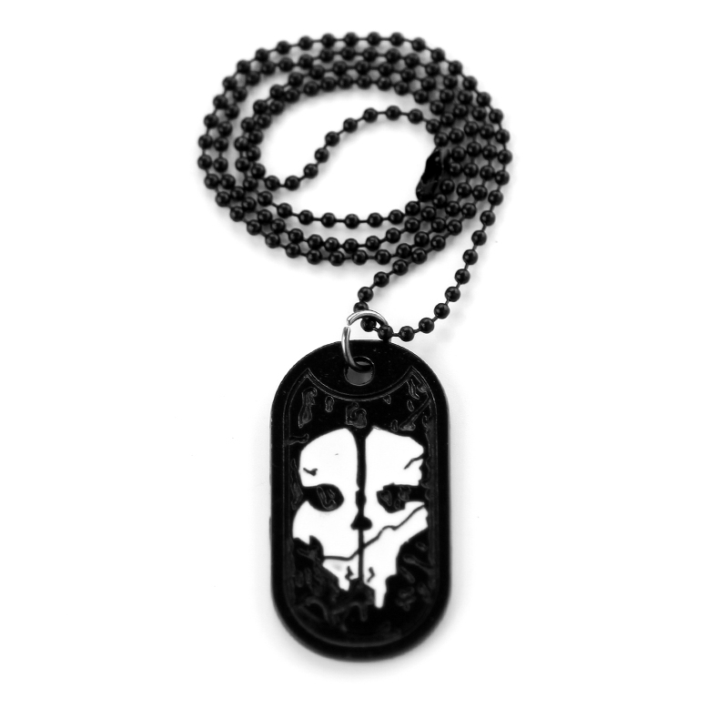 Rock Punk Dog Tag Necklaces Pendants Call Duty Ghosts Necklace Black Bead Chain Cosplay jewelry Charm Biker Accessories