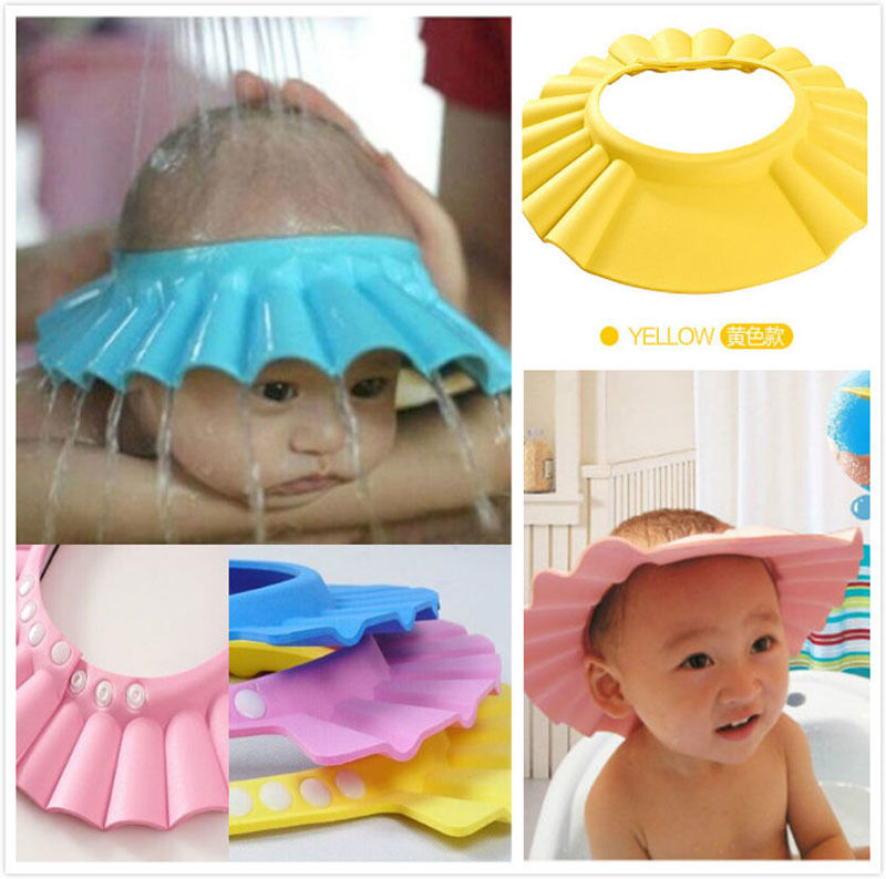 2017 Brand New Baby Children Kids Safe Shampoo Bath Bathing Shower Cap Hat Wash Hair Shield Adjustable Elastic Shampoo Cap #1