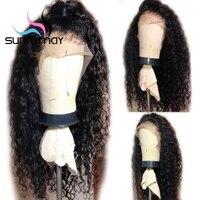 Sunnymay вьющиеся парики предварительно сорвал 360 кружева фронтальной парик с Детские волосы 180% бесклеевого бразильский вьющиеся волосы челов