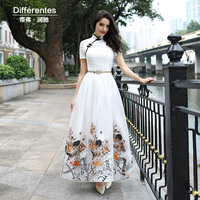 DF Embroidery Dress Xxxl Women Printed Flowers Qipao Short Sleeve Mandarin Collar Dress Ball Gown Summer