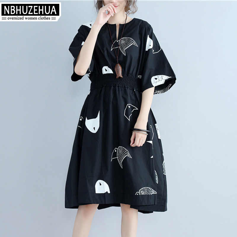 NBHUZEHUA Women Dress 2019 Elegant Short Sleeve Summer Dresses Large Size Cartoon Print Slim Waist A Line Dress 4XL 5XL 19-D77