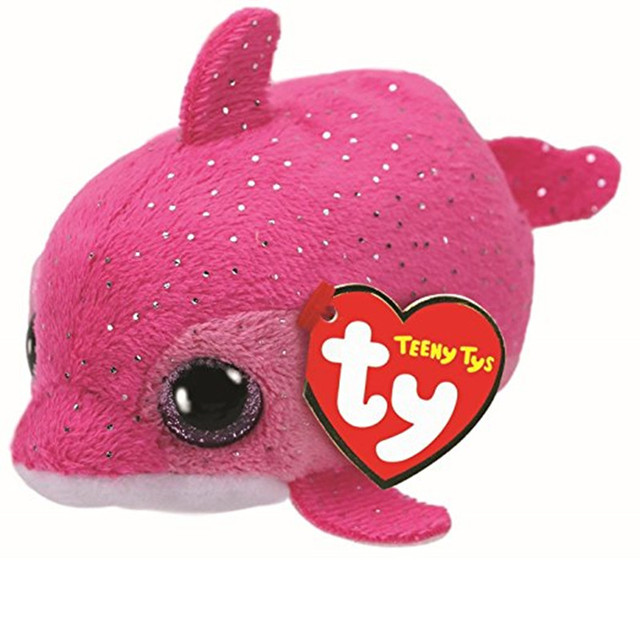 10cm Ty Beanie Boos Big Eyes Teeny Pink Dolphin Plush Toy Doll
