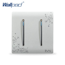 2 Gang 1 Way Switch Hot Sale Wholesaler Wallpad Luxury Wallpad Wall Light Switch Panel Flower Design 110~250V