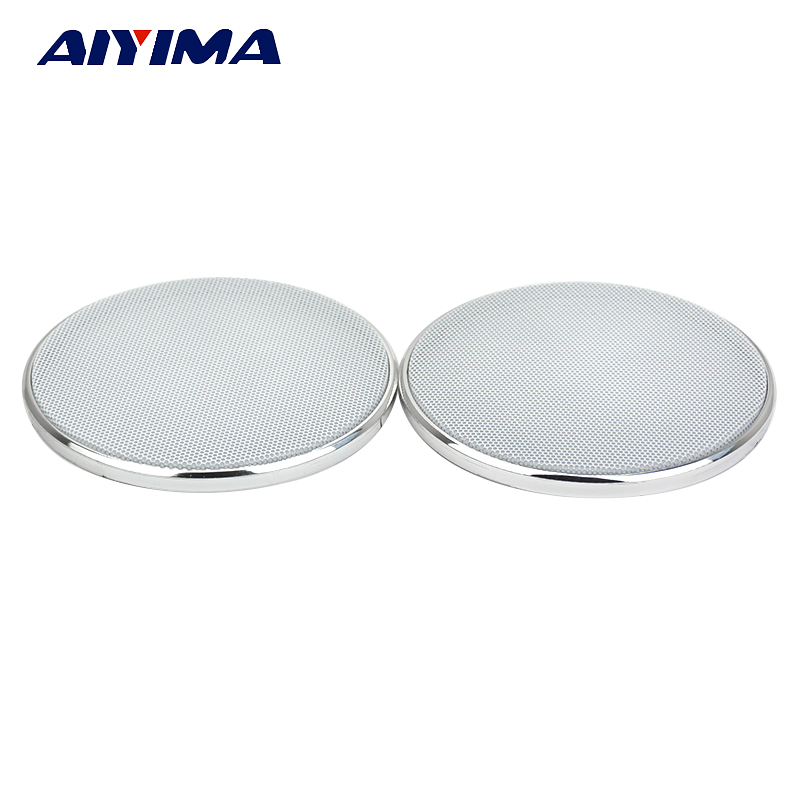 Aiyima 2PCS 4Inch Speakers Protactive Cover Plating Car Audio Speaker White Cover Tweeters Grille Waffle Mesk Grills