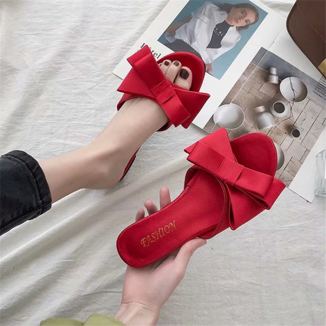 1b0a7bd57ef US $15.9 47% OFF|Wearling Flat Slippers Women Shoes 2019 Korean Version Of  The Summer New Large Bow Satin Elegant Ladies Slides Green Red Black-in ...