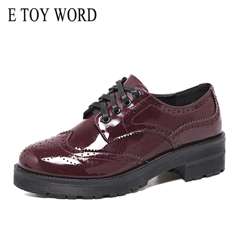 E TOY WORD Fashion Autumn Women Oxfords Flats Shoes Carve Patterns Designs Leather patent Brogue Shoes Spring women shoes e toy word canvas shoes women han edition 2017 spring cowboy increased thick soles casual shoes female side zip jeans blue 35 40