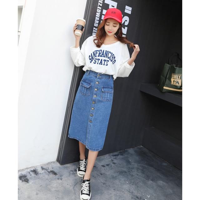 vetevidi d 39 t 2017 femmes denim jupe jeans taille haute mi longue jupe mode avant rang e boucle. Black Bedroom Furniture Sets. Home Design Ideas
