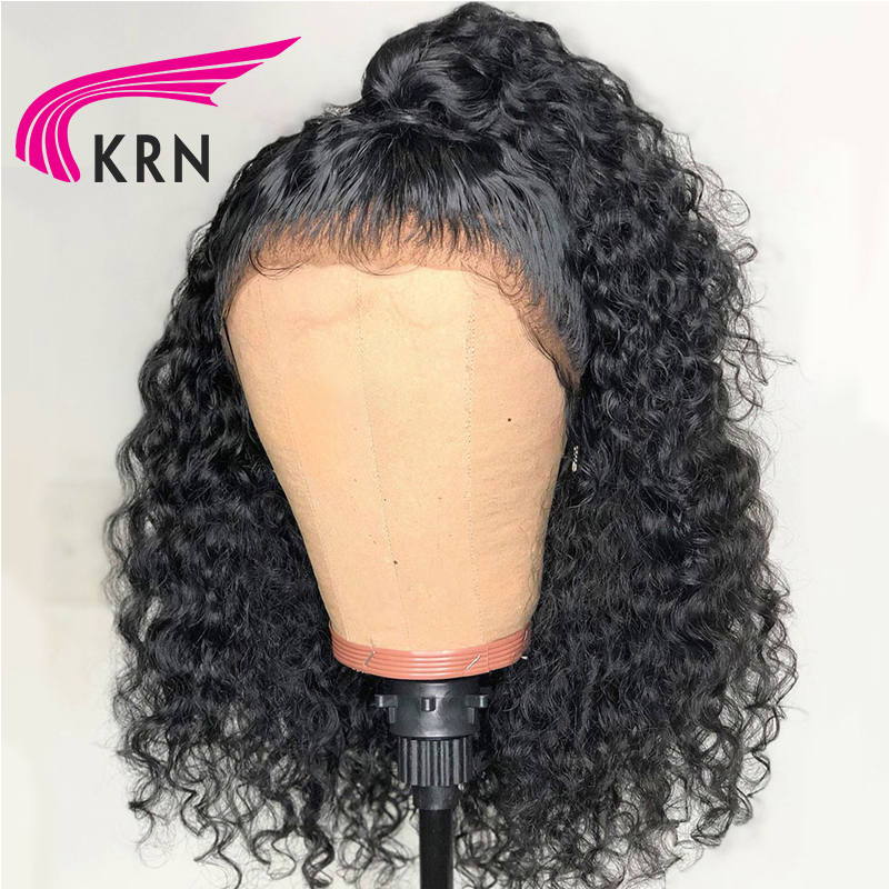 KRN 130 Density Glueless Lace Front Wigs With Baby Hair 13X3 Curly Remy Pre Plucked Brazilian