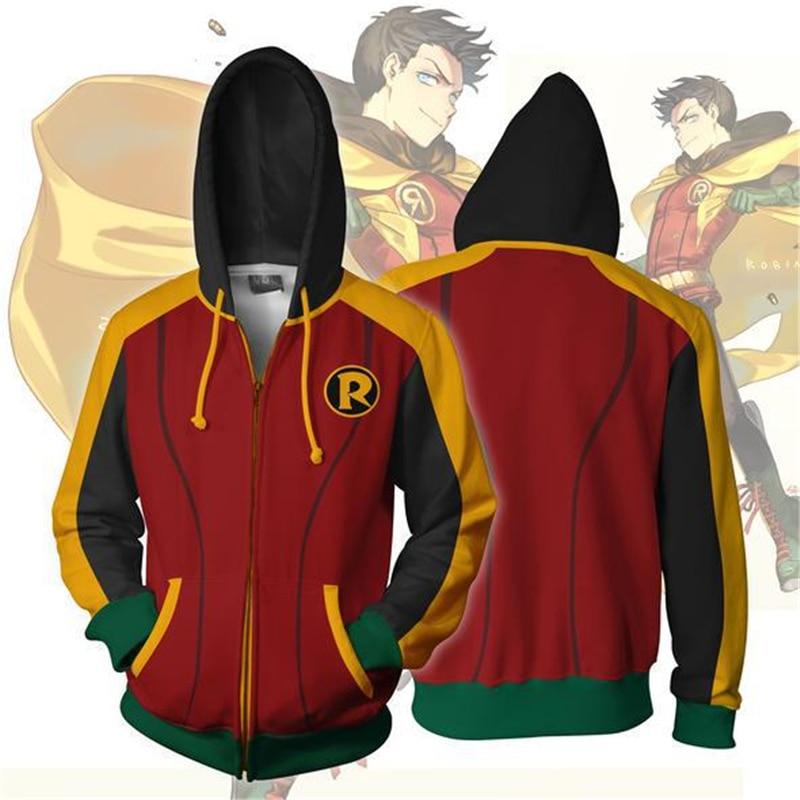 Batman Damian Wayne Robin Hoodies Cosplay Fashion Men Leisure Hoodies Sweatsh 3D Printed Cardigan Zipper Sweatshirts  Jacket
