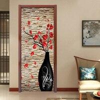3D Stereo Vase Flower Brick Wall Wallpaper Living Room Bedroom Door Decoration Mural Sticker PVC Waterproof
