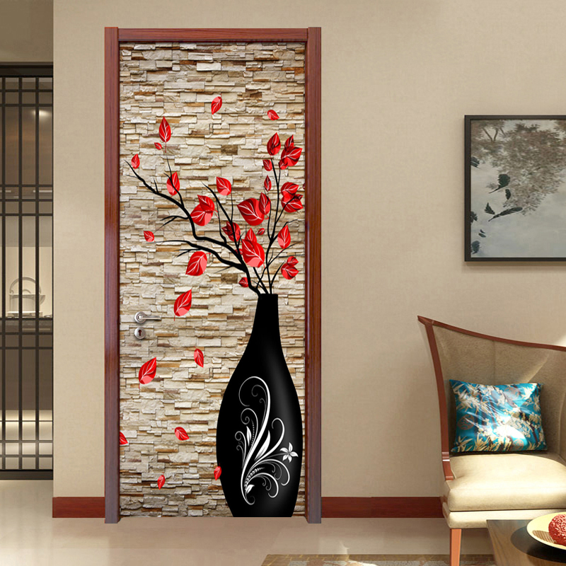 3D Stereo Vase Flower Brick Wall Wallpaper Living Room Bedroom Door Decoration Mural Sticker PVC Waterproof Self-adhesive Paper 2 sheet pcs 3d door stickers brick wallpaper wall sticker mural poster pvc waterproof decals living room bedroom home decor