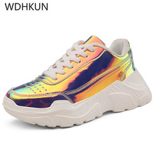 Women Casual Shoes Femme 2019 Spring Autumn Shoes Women Sneakers Flats Fashion Lace-Up platform White Breathable woman Sneakers