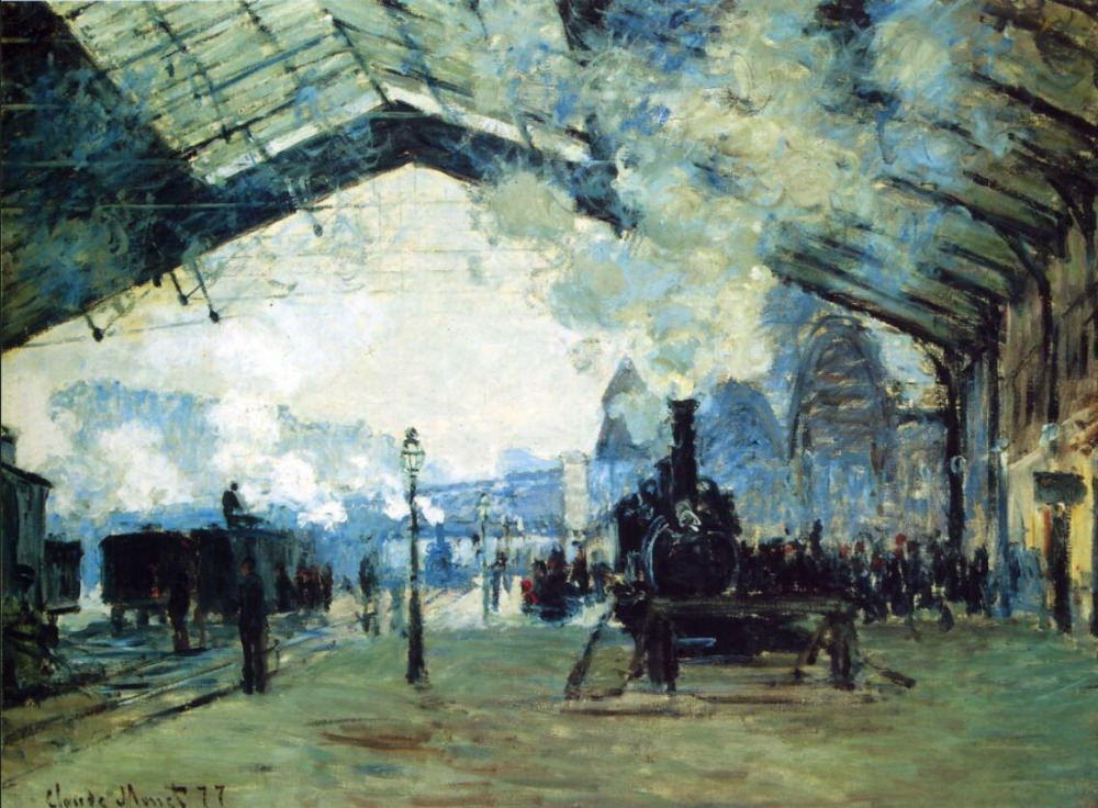 High quality Oil painting Canvas Reproductions Saint-Lazare Gare, Normandy Train (1887) By Claude Monet Painting hand painted