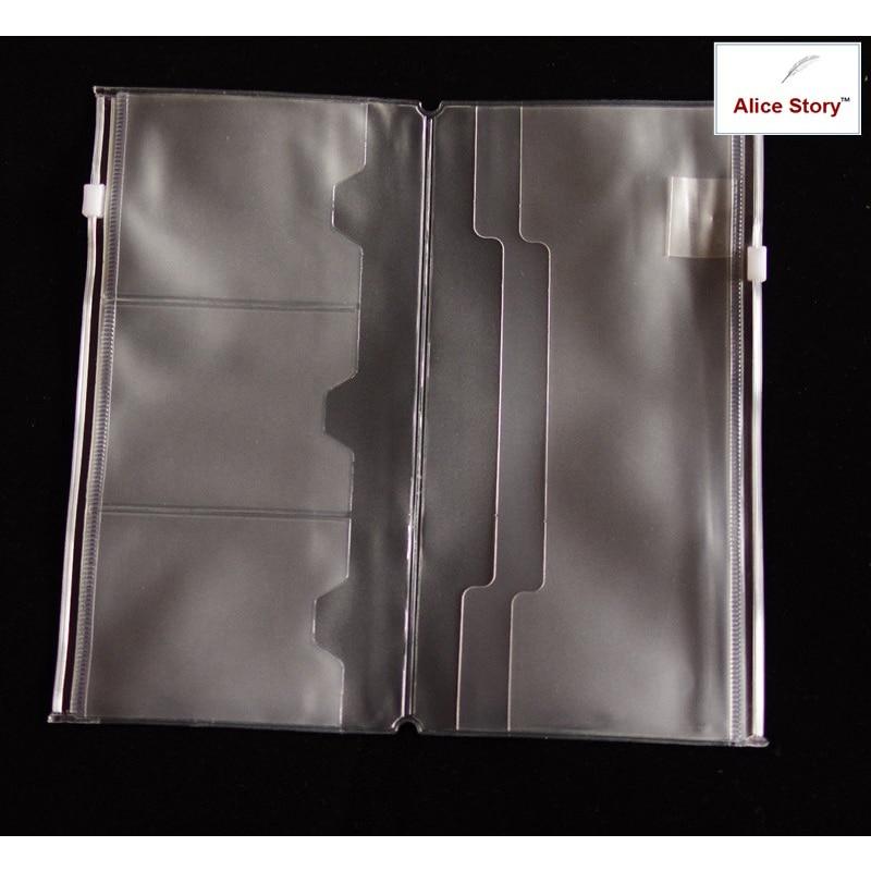 Pvc Double Zipper/Card Bag L (Standard) For Traveler's Notebook Diary Pocket Pouch 21X11Cm Storage TN Folder File Accessories