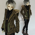 New 1/3 1/4 MSD SD13 LUTS BJD Clothes Army Green Gris Tarmac  Uniform Coat Loose Casual Style Spring Winter Boy Outfit Jacket