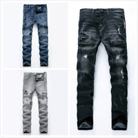 Dropshipping Men Jeans Washed Gray Moto Denim Pants 196#