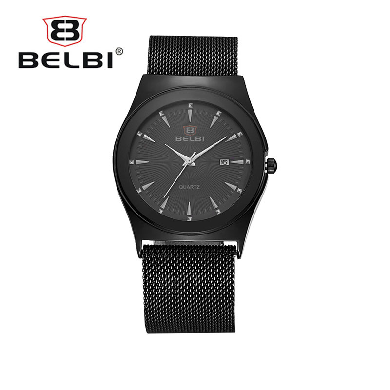 BELBI New Clock Black Fashion Men Watch No Buckle Design Stainless Steel Quartz Watches Wrist Watch Couple Watches quality manufacturers direct sales 2016 belbi brand fashion simple womens watches quartz watch personality stainless steel watch