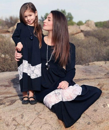 79f4fcfea6 2018 Mommy And Me Family Matching Dress Mother Daughter Long Holiday Maxi  Dress Hot