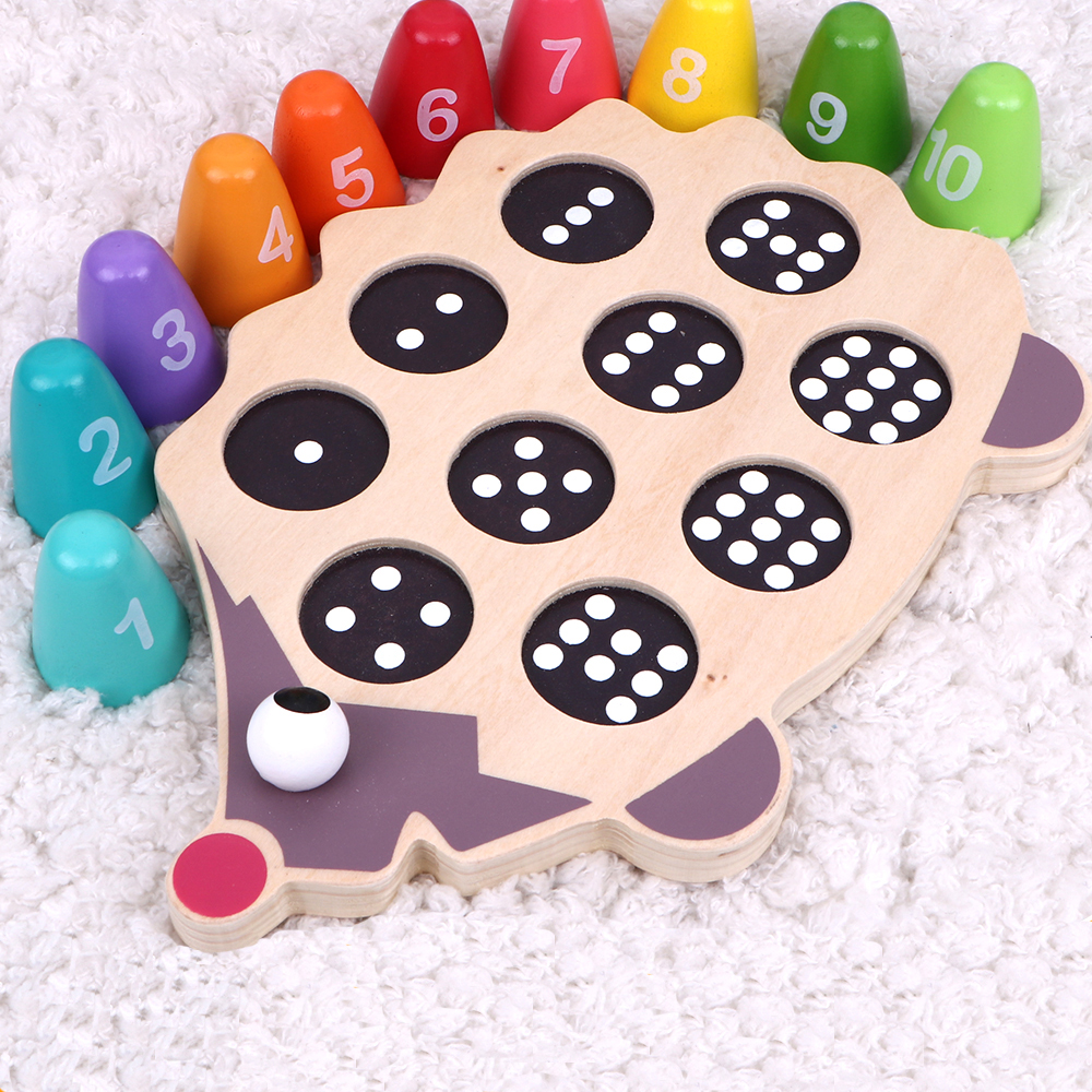 MamimamiHome Childhood Montessori Mathematics Early Education Hedgehog Baby Sign Number Blocks Baby Cognitive Toys Blocks
