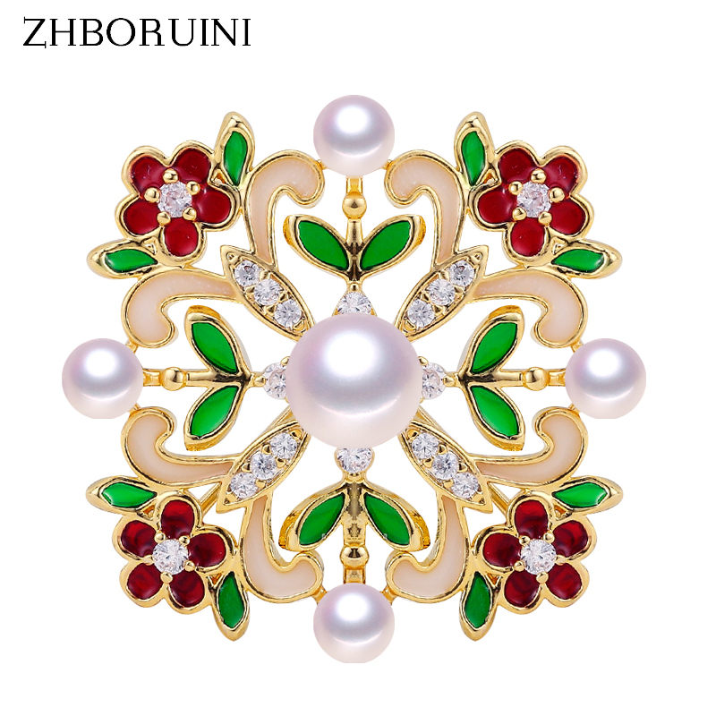 ZHBORUINI Jewelry Brooch Pearls Natural-Freshwater-Pearl Enamel-Gold Women for Accessories