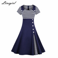 Women Vintage Striped Dress Summer Retro Party Evening Elegant Rockabilly 1950s Swing Dresses Plus Size 4XL