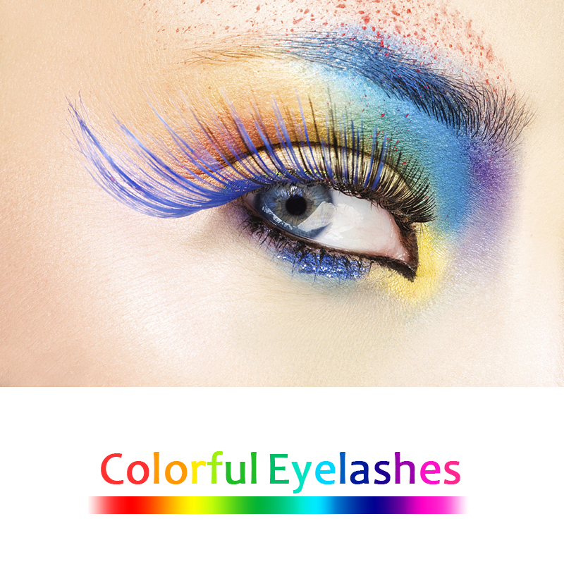 Mangodot Colourful False Mink Eyelashes Red Pink Cosplay Colored Blue Cilios Makeup Eyelashes Extension 3D Colour Fake Lashes